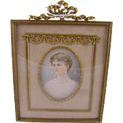 Antique English Woman Signed MINIATURE PORTRAIT in Beautiful Bronze Frame