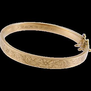 Antique 12 Karat Gold Engraved and Inscribed Love Token  BANGLE BRACELET