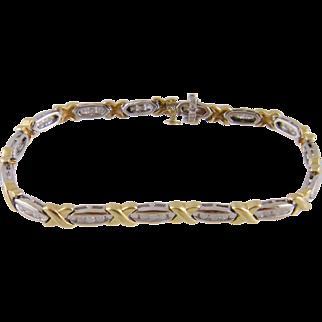 Estate 14 Karat Gold with 45  Full Cut Diamonds CHANNEL SET BRACELET