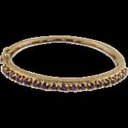 Antique 14 Karat Gold Engraved with Matched  AMETHYSTS BRACELET