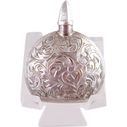 ANTIQUE 950 STERLING SILVER Engraved Perfume Bottle in Original Cantilever Fitted Leather Case