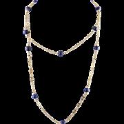 Estate Vintage 14 Karat Gold  with LAPIZ LAZULI BEADS 34 Inch Fancy  Chain NECKLACE
