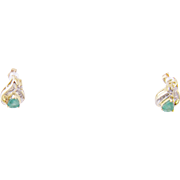 Vintage Modern 10 Kara tGold  with EMERALDS and DIAMONDS Earrings
