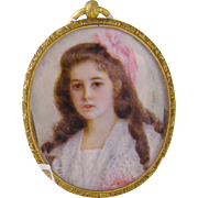 Antique signed 1900's Beautiful Girl in Pink signed M Butz  MINIATURE PORTRAIT