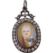 Antique  1800'S MINIATURE PORTRAIT of Gentleman in Silver and Paste Pendant