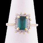 Vintage Estate 14 Karat Gold  EMERALD with DIAMONDS Ring