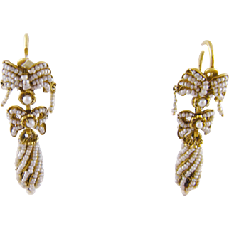 Antique 1800's 18 Karat Gold Encrusted  Seed Pearls with Drop BOW GROTTO EARRINGS