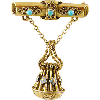 Antique 14 Karat Gold with Turquoise  and Enamel Flowers BAR BROOCH with BASKET