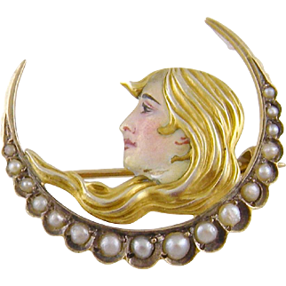 Antique Art Nouveau 14 Karat Gold Beautiful Woman with Enamel and Seed Pearls HALF  MOON BROOCH