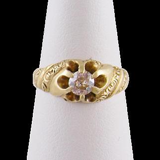 ANTIQUE ART NOUVEAU 14 Karat Gold  with 1/3 Carat Old Mine Cut Diamond Ring