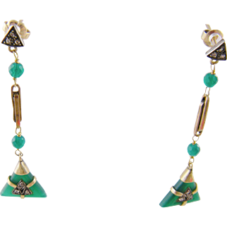 Antique  ART DECO CHRYSOPRASE with Rose Cut Diamonds Gold and Silver Earrings