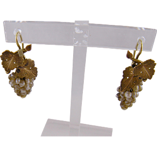 Antique 14 Karat Gold with River Pearls  CLUSTER EARRINGS