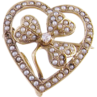 Antique 14 Karat Gold Seed Pearl with Clover in Heart Brooch    LUCKY in LOVE