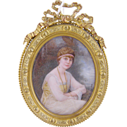 Antique Signed  Luciene Frison Seated Woman Beautifully Painted Miniature  PORTRAIT in BRONZE FRAME