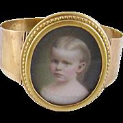 Antique 10 Karat Gold  1871  AMERICAN MINIATURE PORTRAIT of a Beautiful Young Girl  in a Bracelet