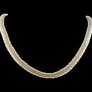 Vintage 14 Karat Gold 17 1/2 Inch Long Braid  NECKLACE Chain