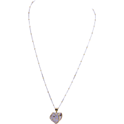 ESTATE 18 KT GOLD Wire Work Pendant  on 14 Karat Yellow and White Gold Chain Necklace
