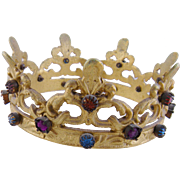 Antique French Bronze with Jeweled Paste  SANTOS CROWN