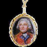 Antique 10 Karat Gold  ENAMEL Miniature  PORTRAIT Locket Pendant