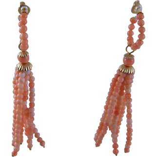 Estate 18 Karat Gold Designer CYNTHIA BACH Coral Hoop and Dangle  EARRINGS