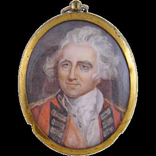 Antique 1800'S English Military Officer  MINIATURE PORTRAIT
