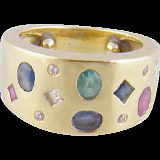 Modern Estate  18 Karat Gold with INLAID GEMSTONES Sapphires Diamonds Emeralds  Wide BAND RING