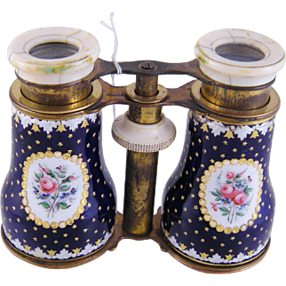 Antique Enamel with Floral and Stars and Gold Leaf  OPERA GLASSES