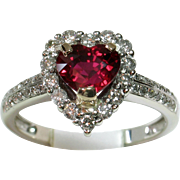 VIVID Rare Heart-Shaped Certified 'Unheated Ruby' & Diamond Ring