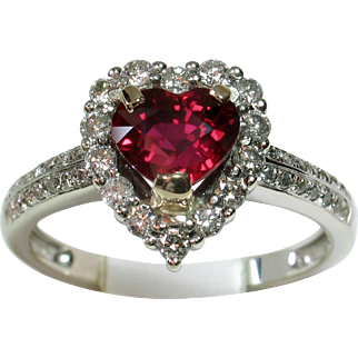 VIVID Rare Heart-Shaped Certified 'Unheated Ruby' & Diamond Ring