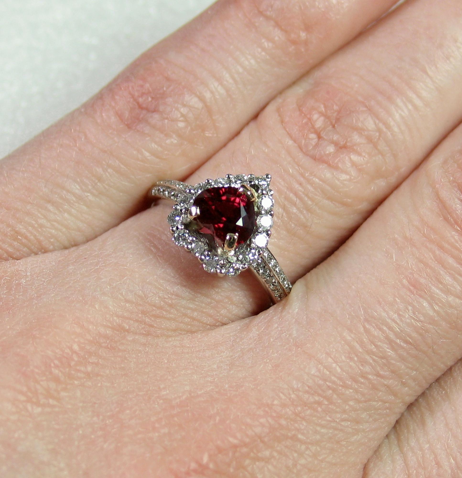 NO HEAT VIVID Rare HeartShaped Certified Ruby Diamond Ring