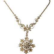 CMCC SALE! Antique 15k Gold Hallmarked Seed Pearl Daisy Necklace - pin/pendant