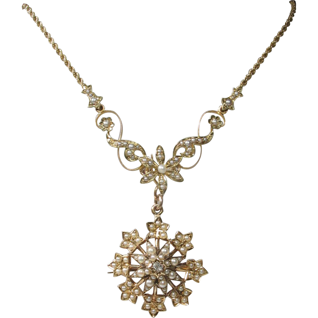 SAVE $700 during our SUPER SUMMER SALE! Antique 15k Gold Hallmarked Seed Pearl Daisy Necklace - pin/pendant