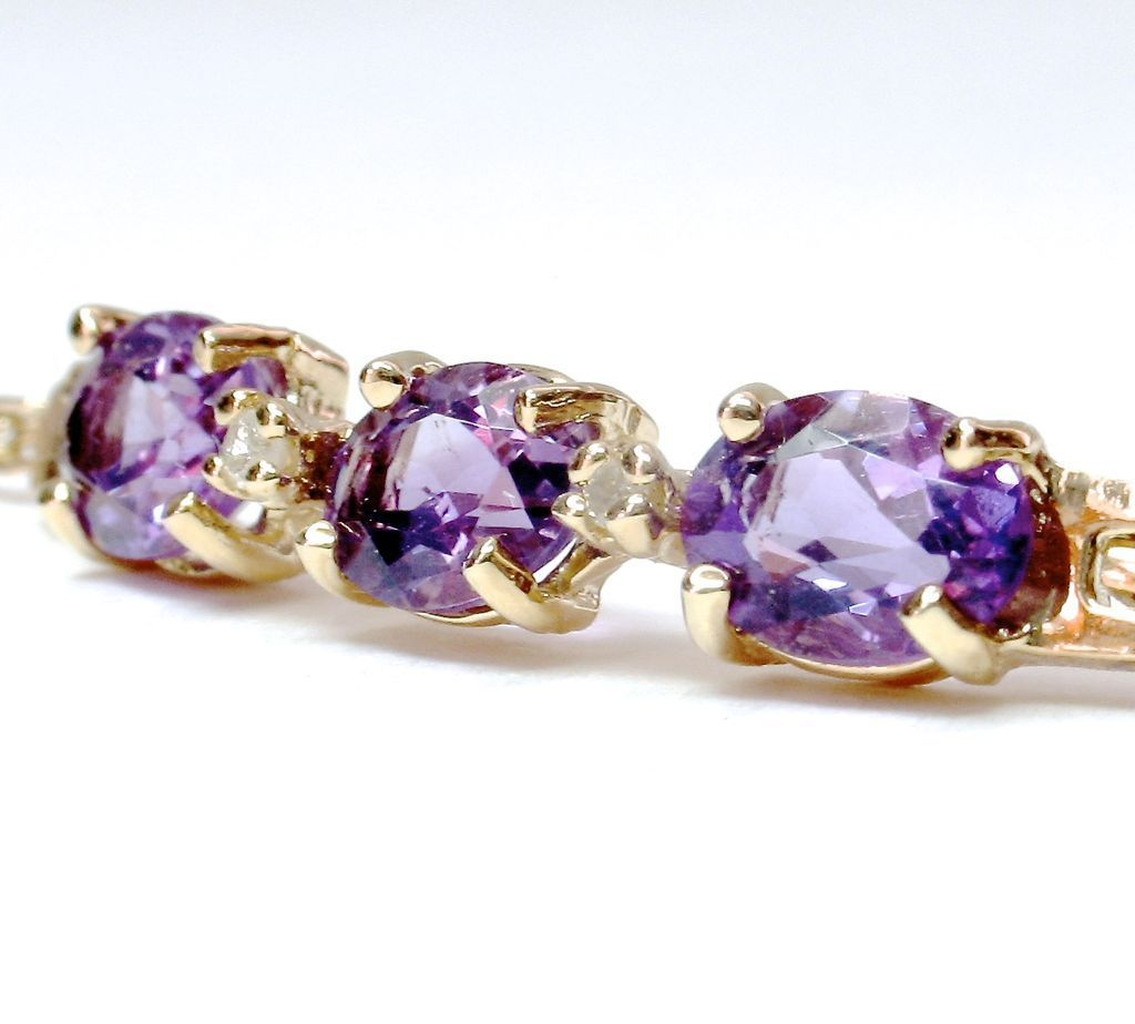 DHD SALE! Delightful 14k yellow gold Triple Amethyst & Diamond Bracelet
