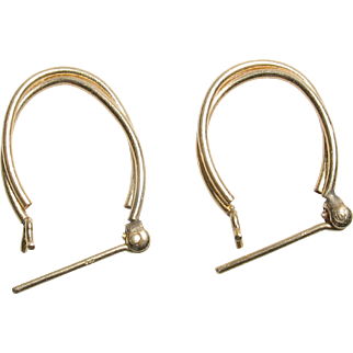 14k Yellow Gold Hoop Earrings for pierced ears