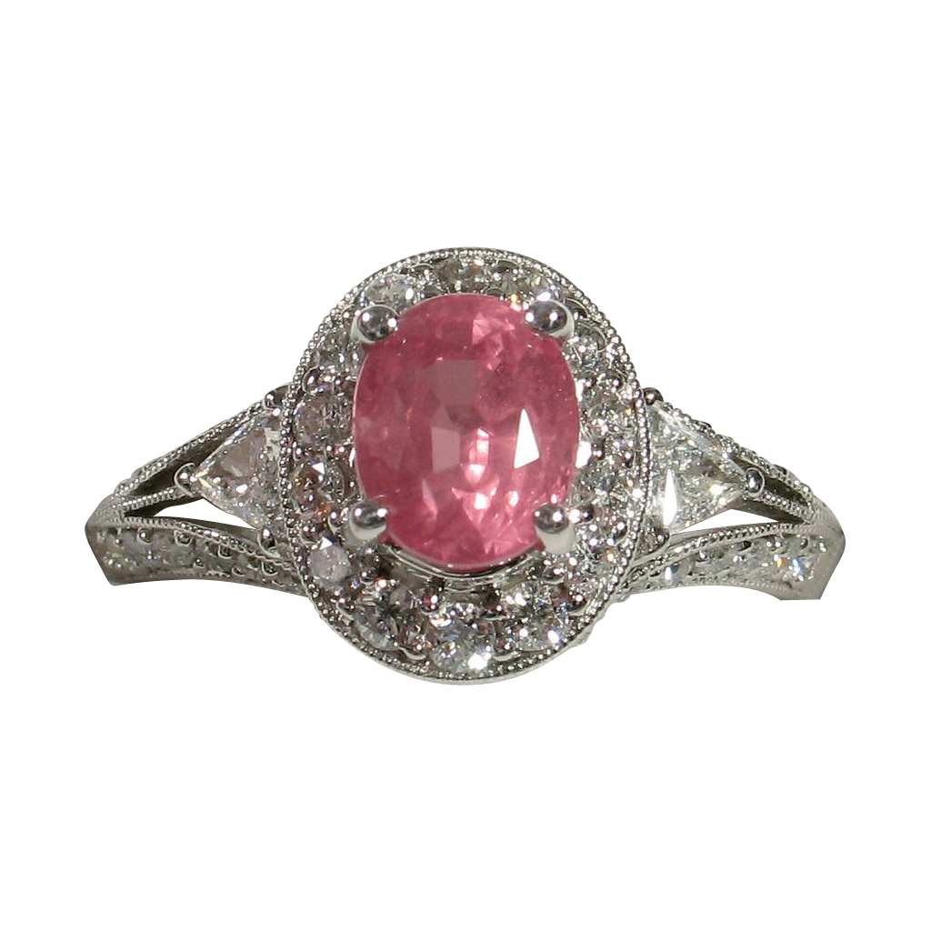 Beautifully Elegant Unheated PADPARADSCHA Sapphire Diamond Ring