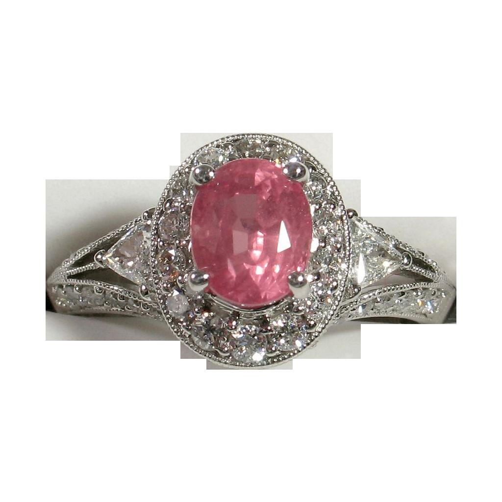 Beautifully Elegant Unheated PADPARADSCHA Sapphire Diamond Ring