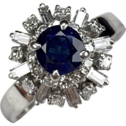 CLEARANCE! Delightful 1960's Sapphire & Diamond Ballerina Cocktail Ring