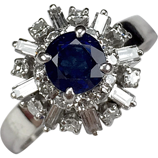 Delightful 1960's Sapphire & Diamond Ballerina Cocktail Ring
