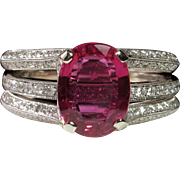 "CMCC SALE! ""NO HEAT"" 2.06ct Ruby & Diamond Simon G Engagement Ring Set"