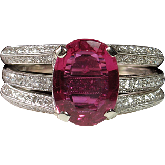 "SAVE $1900 in our SUPER SUMMER SALE! ""NO HEAT"" 2.06ct Ruby & Diamond Simon G Engagement Ring Set"