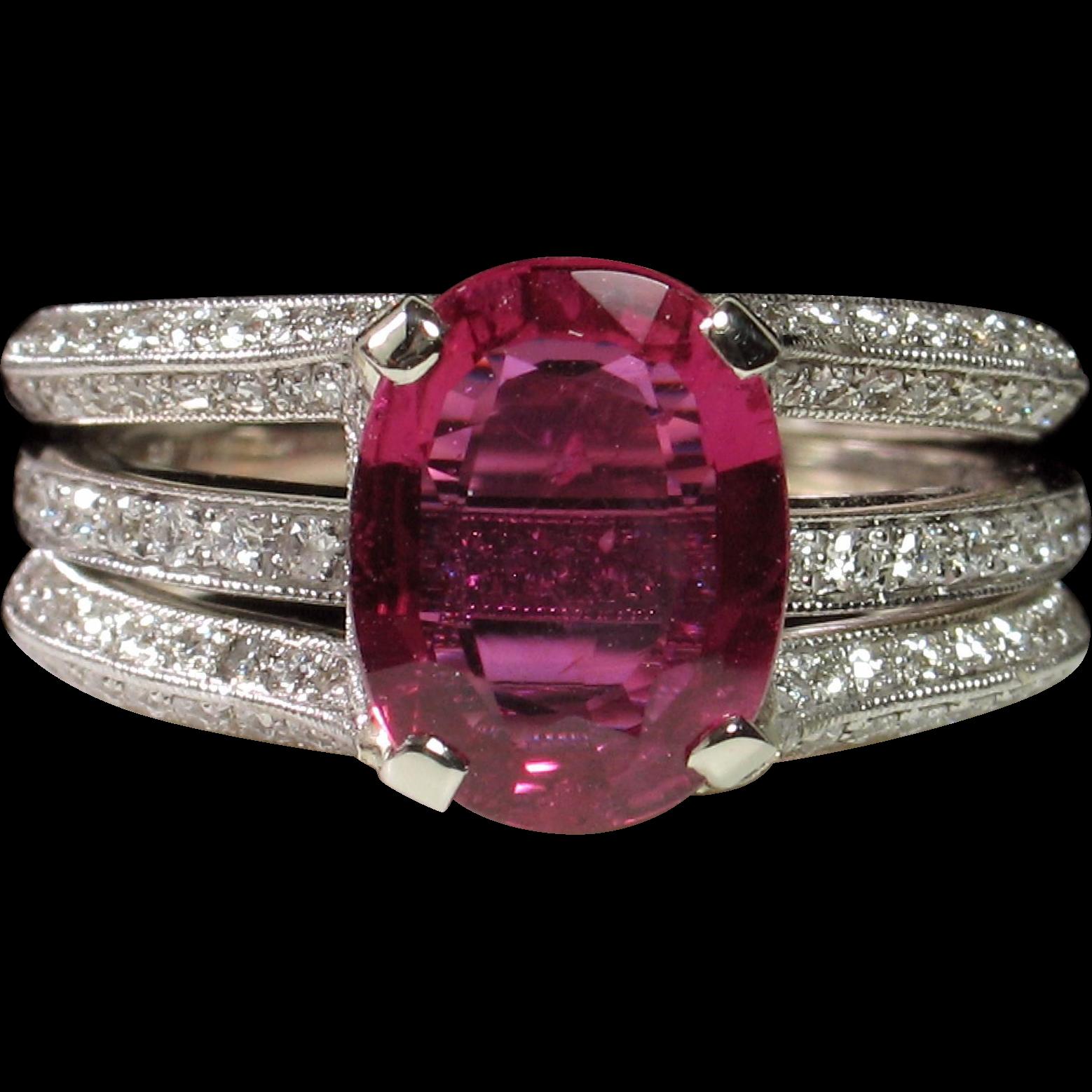 no heat 2 06ct ruby diamond simon g engagement ring set from