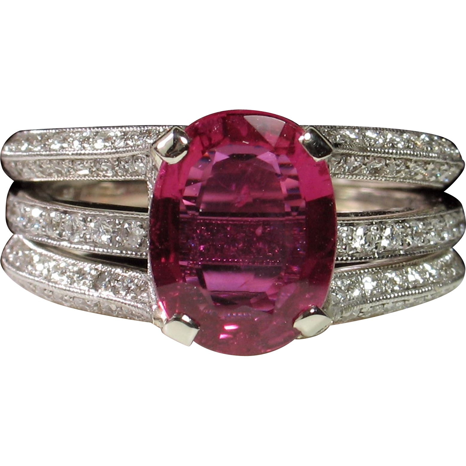 """NO HEAT"" 2.06ct Ruby & Diamond Simon G Engagement Ring Set"