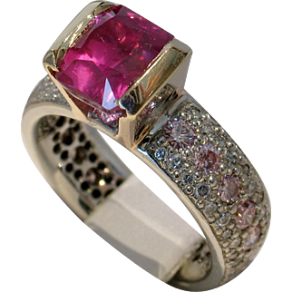 One of a Kind 3.04ct UNHEATED Ruby & Natural Pink Diamond Ring