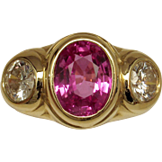 Magnificent Vivid Hot Pink Sapphire & Diamond 3-Stone Ring