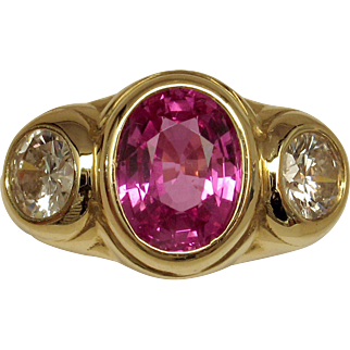 SAVE $2400 in our SUPER SUMMER SALE! Magnificent Vivid Hot Pink Sapphire & Diamond 3-Stone Ring