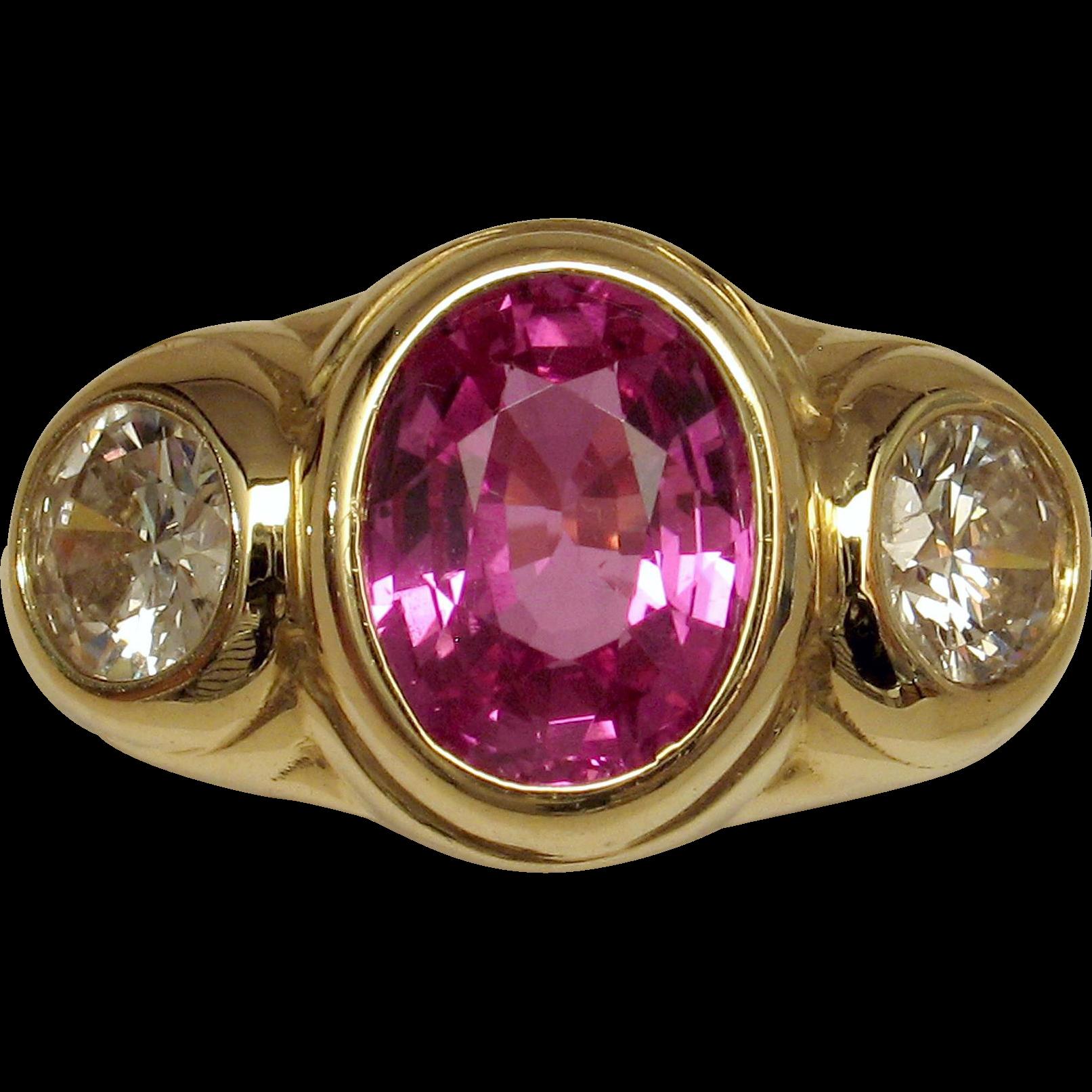 Magnificent Vivid Hot Pink Sapphire & Diamond 3-Stone Ring