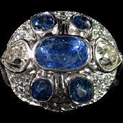 Marvelous ART DECO Sapphire & Diamond Cocktail Ring