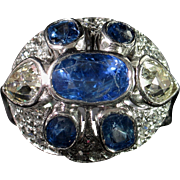 CMCC SALE! Marvelous ART DECO Sapphire & Diamond Cocktail Ring