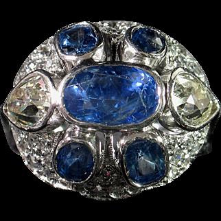 CMCC SALE! Marvelous ART DECO Sapphire & Diamond Cocktail Ring