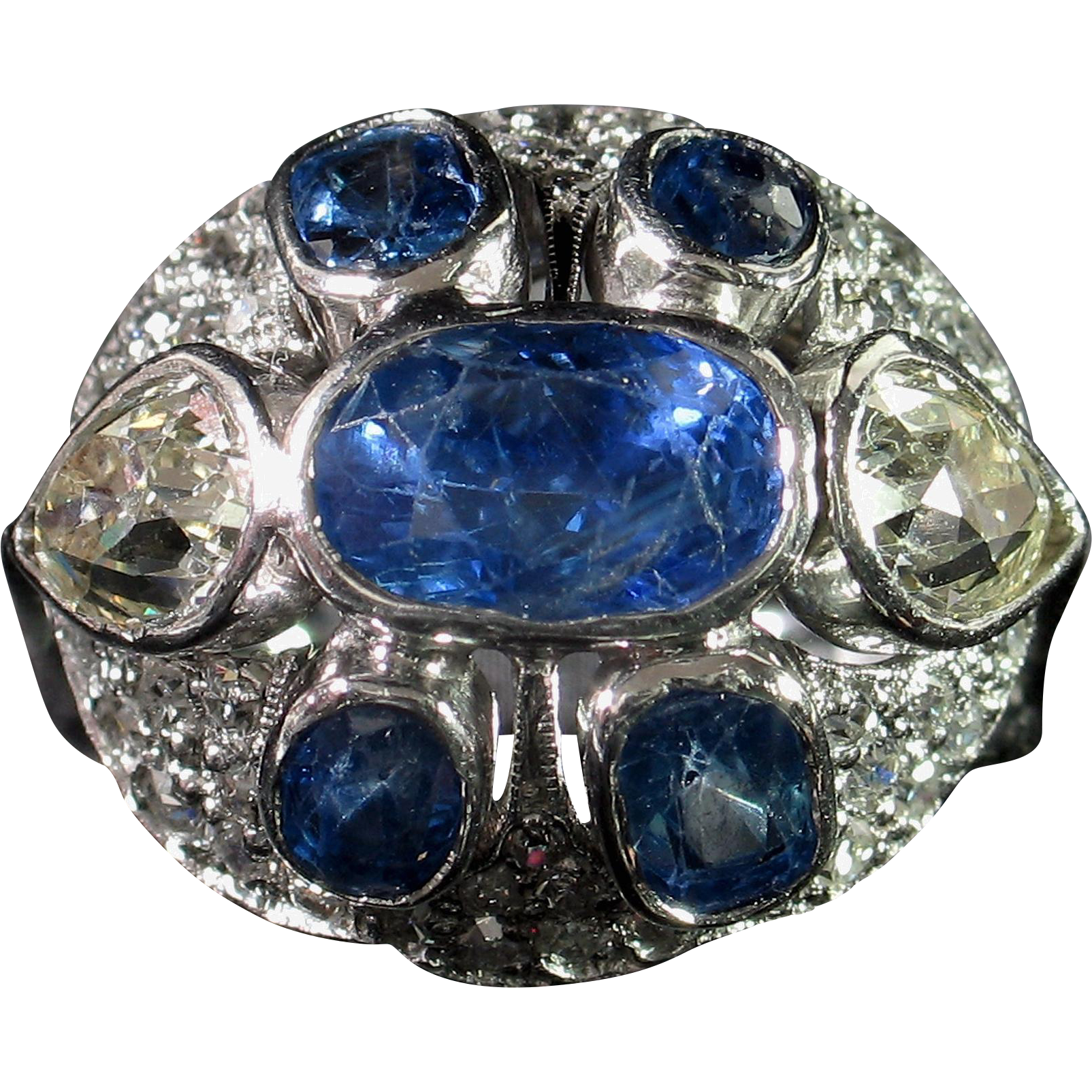 CLEARANCE! Marvelous ART DECO Sapphire & Diamond Cocktail Ring